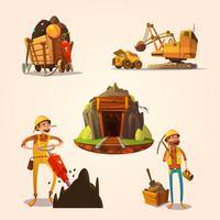 Conjunto de desenhos animados de mineração vetor