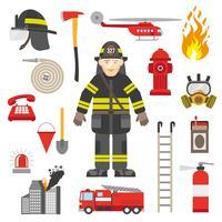 Coleção de ícones plana de equipamento profissional bombeiro vetor