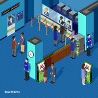 Conceito isométrico de serviço bancário vetor