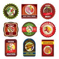 Emblemas de pratos grelhados vetor