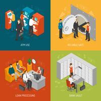 Conjunto de ícones do conceito de banco