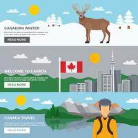 Conjunto de Banners horizontais de viagens do Canadá vetor
