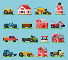 Conjunto de ícones plana ortogonal de fazenda vetor