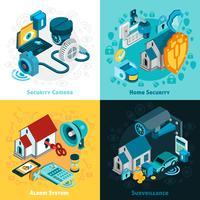 Conjunto de ícones de conceito de sistema de segurança vetor