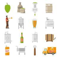 Conjunto de ícones de cervejaria vetor