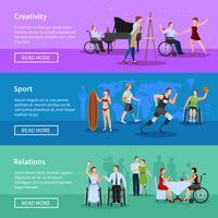 Pessoas com deficiência 3 Composição Horizontal Banners vetor