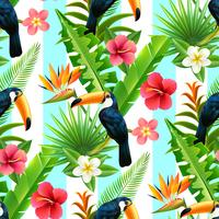 Rainforest Toucan Flat Seamless Pattern