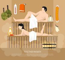 Ilustração da visita da família da sauna do banho