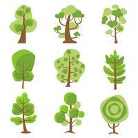 Ícones decorativos de logotipo de árvore vetor