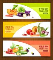 Banners horizontais de frutas e legumes