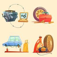 Conjunto de ícones de Cartoon retrô de auto serviço
