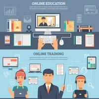 Conjunto de Banner de treinamento de educação on-line vetor