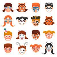 Conjunto de ícones de rostos pintados vetor