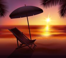 Pôr do sol e praia de fundo vetor