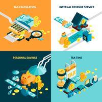 Conjunto de ícones de conceito fiscal vetor