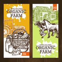 Banners verticais da fazenda orgânica