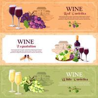 Banners horizontais de degustação de vinhos vetor