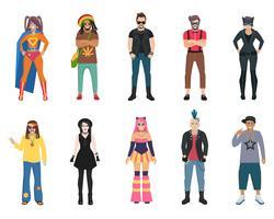 Conjunto de ícones de pessoas de subculturas vetor