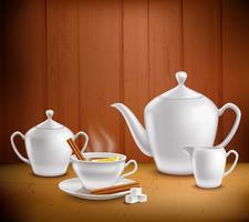 Composição de conjunto de chá vetor