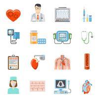 Conjunto de ícones plana de cardiologia vetor