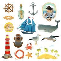 Conjunto de elementos decorativos náutico mar