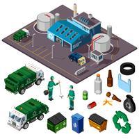 Conceito de Design isométrico de centro de reciclagem vetor