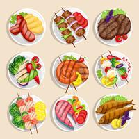 Conjunto de comida grelhada vetor