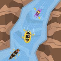 Rafting na vista superior do rio