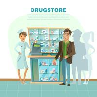 Ilustração dos desenhos animados de farmácia