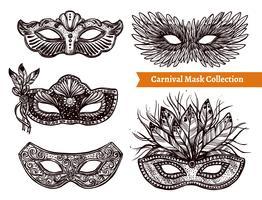 Conjunto de mão desenhada de máscara de carnaval vetor