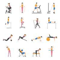 Pessoas treinando no conjunto de ícones do ginásio vetor