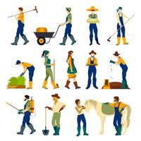 Agricultores no trabalho conjunto de ícones plana vetor