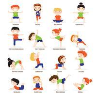 Crianças crianças Yoga Poses Cartoon Set. vetor
