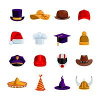 Chapéus e bonés ícones de cores planas
