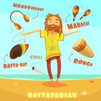 Ilustração de personagem Rastafari vetor