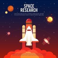 Pesquisa de espaço e Banner plana de exploração vetor