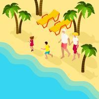 Banner isométrico de férias em família de pessoas aposentadas vetor