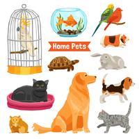 Conjunto de animais domésticos vetor
