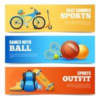 Conjunto de Banners de esportes de verão vetor