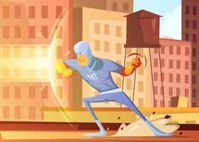Super-herói protegendo a ilustração da cidade vetor
