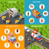 Conjunto de ícones de conceito de comida de rua vetor