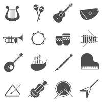 Conjunto de ícones brancos pretos de instrumentos musicais