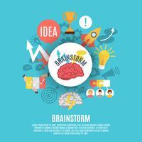 Cartaz plano com ícones de Brainstorm