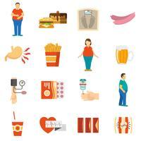 Ícones de problema de obesidade