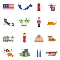 Conjunto de ícones plana de símbolos de cultura da Malásia