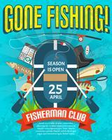 Cartaz de pesca com data de abertura de temporada vetor