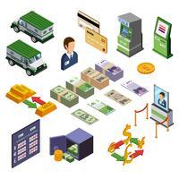 Conjunto de ícones isométrica de bancário