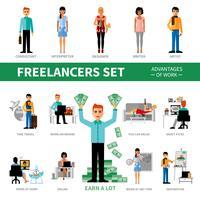 Conjunto de Freelancers com vantagens do trabalho vetor