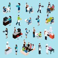 Conjunto de ícones do restaurante Bar pessoas isométrica