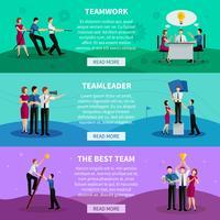 Banners horizontais de trabalho em equipe